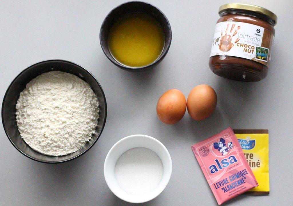 ingrédients muffins au nutella