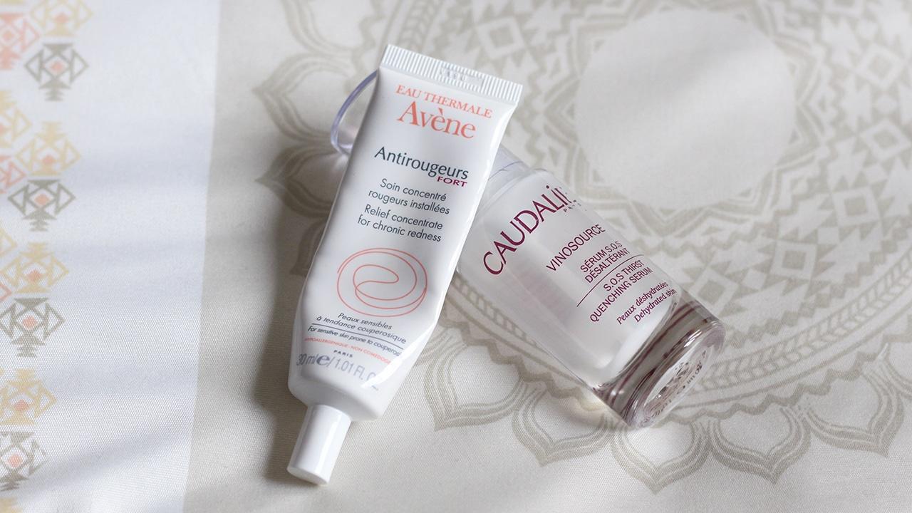sérum caudalie et crème anti-rougeurs avène